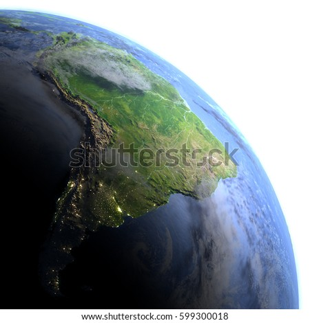 South America. 3D illustration with detailed planet surface and visible city lights. Elements of this image furnished by NASA. Foto stock ©