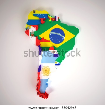 map of south american capitals. stock photo : South America