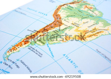 South America map with mountains,rivers.