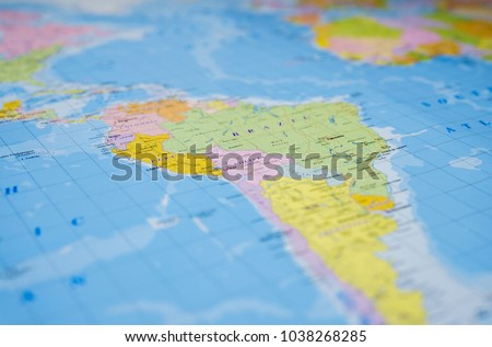 South America on the map #1038268285