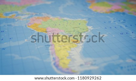 South America on the map #1180929262