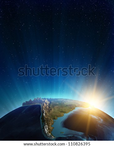 South america real relief. Elements of this image furnished by NASA
