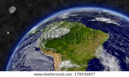 South America region on planet Earth from space with Moon and stars in the background. Elements of this image furnished by NASA.