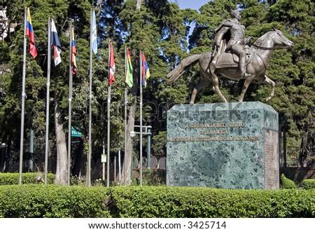 South America square with the statue in Guatemala City, Guatemala