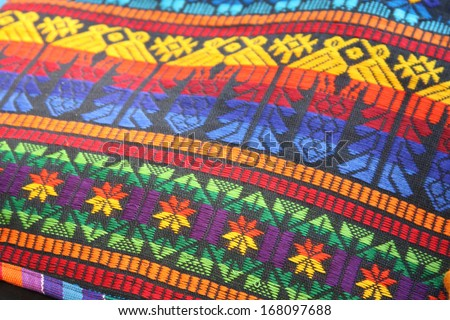 South American hand made colourful fabric, Peru. Traditional patterns & design.