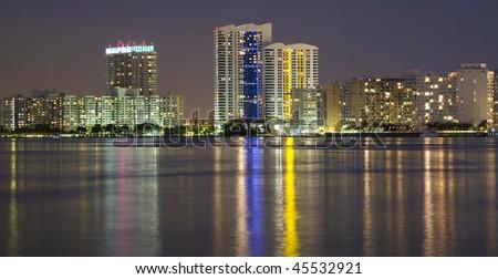 South Beach Apartment Buildings Across Biscayne Bay, Miami, Florida