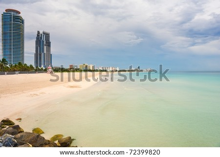 South Beach at cloudy day, Miami, Florida