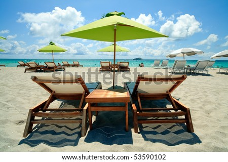 South Beach Lounge Chairs and Umbrellas