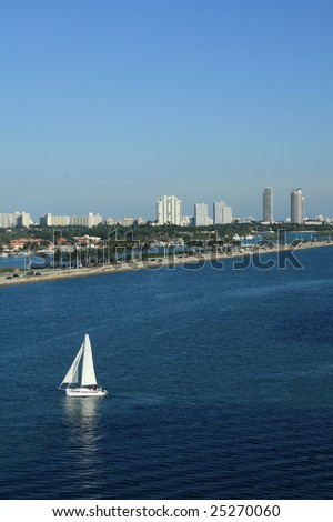 South Beach Miami, Florida.  Sailboats, palm trees, and office building all populate the scene.