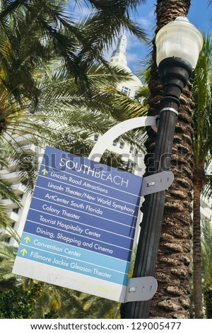 South Beach sign along Collins Avenue in Miami Beach.