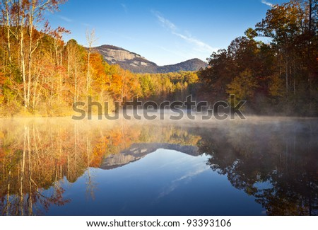 South Carolina Autumn Sunrise Landscape Table Rock Fall Foliage Reflections fog covered lake