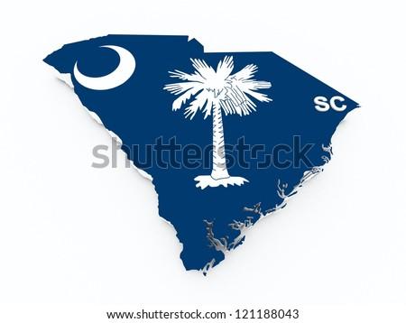 south carolina state flag on 3d map