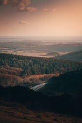 South coast country side. On top of the hill overlooking the South Coast country side during sunset on a winters day.