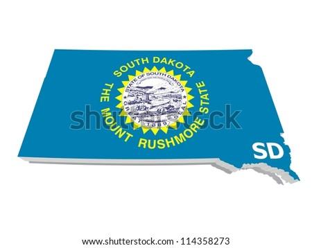 south dakota state flag on 3d map