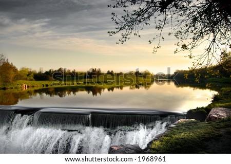 South Dakota Waterfall - stock photo