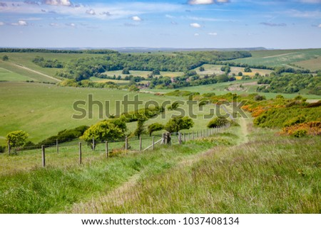 South Downs Way, a  long distance footpath and bridleway along the South Downs hills in Sussex, Southern England, UK #1037408134