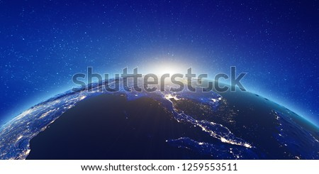 South-east Asia - Bangkok sunrise. Elements of this image furnished by NASA. 3d rendering #1259553511