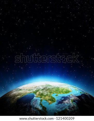 South East Asia. Elements of this image furnished by NASA
