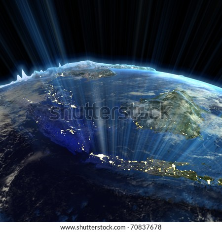 South-East Asia real relief. Earth map from NASA