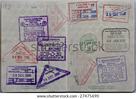South East Asia stamps in a Canadian Passport