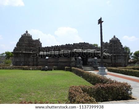 South eastern view of Veera Narayana temple, Belavadi village, Chikkamagaluru district of Karnataka state, India. It was built in 1200 C.E. by Hoysala Empire King Veera Ballala II.