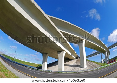 South Florida expressway winds and turns overhead.