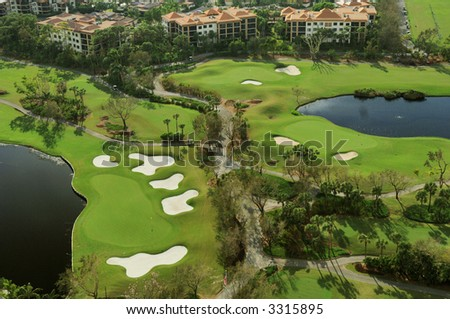 south florida luxury golf course and community aerial view