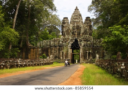 South gate of Angkor Thom complex near Siem Reap Cambodia South East Asia