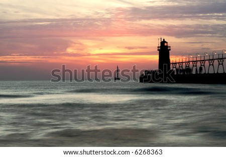 South Haven lighthouse at sunset, long exposure,
