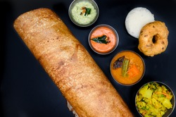 South Indian Food Plates with Idly Dosa Variety Rice.