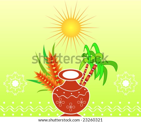 South Indian harvest festival Pongal design with pot, sugarcane and