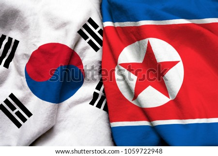 South Korea and North Korea flag together