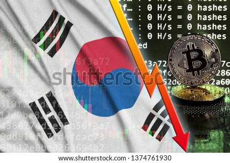 South Korea flag and falling red arrow on bitcoin mining screen and two physical golden bitcoins Zdjęcia stock ©