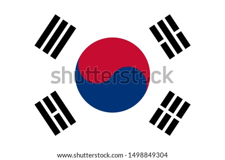 South Korea Flag Made with Official Korean National Colors and Correct Proportions. Korean national symbol. South Korea flag isolate banner print flat