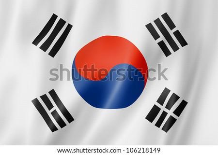 South Korea flag, three dimensional render, satin texture