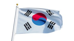 South Korea flag waving on white background, close up, isolated with clipping path mask alpha channel transparency