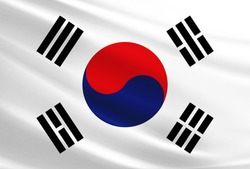 South Korea flag with fabric texture