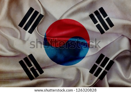 South Korea grunge waving flag