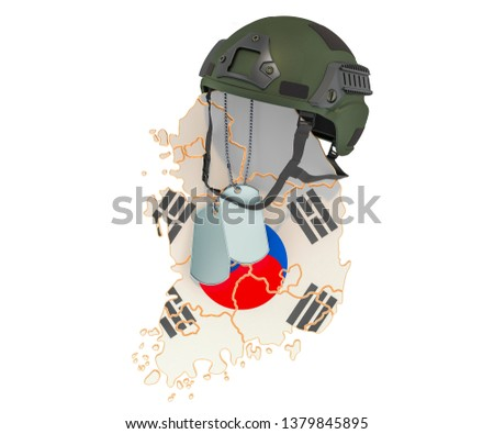 South Korea military force force, army or war concept. 3D rendering isolated on white background