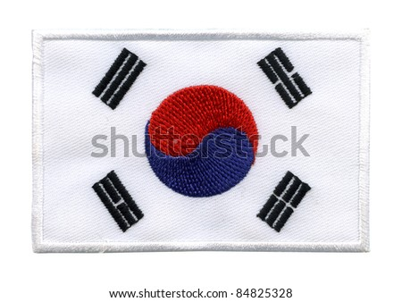 South Korea national flag, labels Textile fabrics, On white background