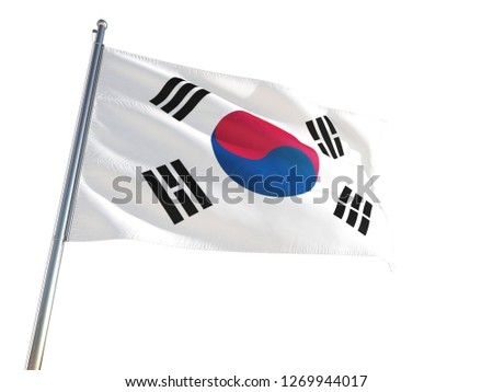 South Korea National Flag waving in the wind, isolated white background. High Definition #1269944017
