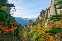 South Korea, Seoraksan national park. Autumn forest landscape with colourful trees, stunning rocks, blue sky and mountains on the background.