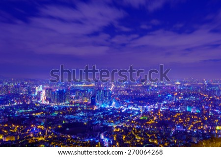 South Korea skyline at night with blur motion,blurred background.