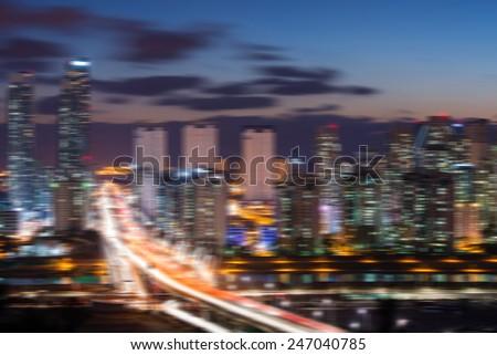 South Korea skyline with blur motion.
