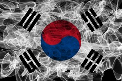 South Korea Smoke Flag on Black Background, South Korea flag