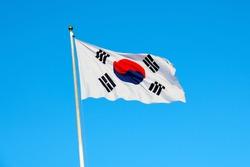 South Korean flag waving on wind