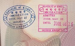 South Korean immigration stamp in passport