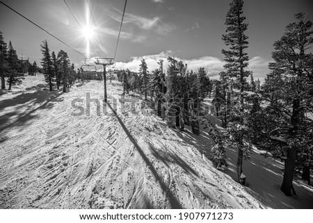 South Lake Tahoe Ski Snowboard Lift Zdjęcia stock ©