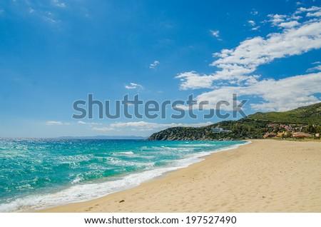 South Mediterranean coast of Sardinia Island, Italy. Beautiful blue Mediterranean sea and sky. Famous beaches of white sand, favorite touristic destination. #197527490