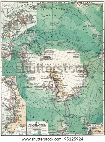 """South Pole. Map of the continent, oceans and seas, islands and the land around it. Publication of the book """"Meyers Konversations-Lexikon"""", Volume 7, Leipzig, Germany, 1910"""